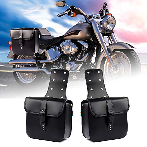 - LEAGUE&CO Pair of Motorcycle Saddle Bag Set Medium Waterproof Insulated PU Leather Side Bag for Harley Sportster Softail Honda Suzuki Yamaha Cruiser