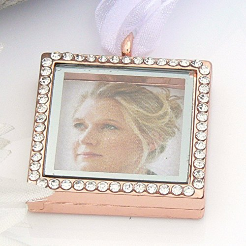 Rose Gold Crystal Picture Frame Bouquet Charm - Memory Locket - Brides Keepsake