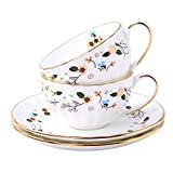 Mose China 4 Piece Service For 2 Luxury Bone China Tea Cup , Ceramic Porcelain 0Coffee Tea Set (2 x 6oz Cups/Mugs with 2 Saucers) for Home, Restaurants, Display & Holiday