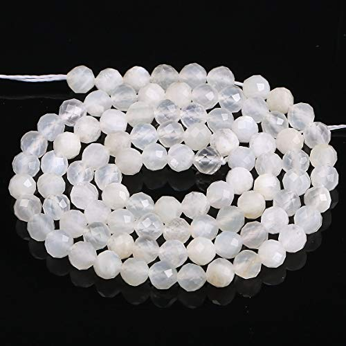 - Natural Beads for Jewelry Making White Moonstone Round Faceted Loose Beads for Jewelry Making Earrings Ring 2 Strand 15