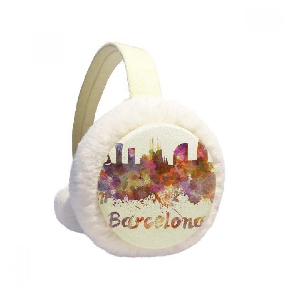 Barcelona Spain City Watercolor Winter Earmuffs Ear Warmers Faux Fur Foldable Plush Outdoor Gift