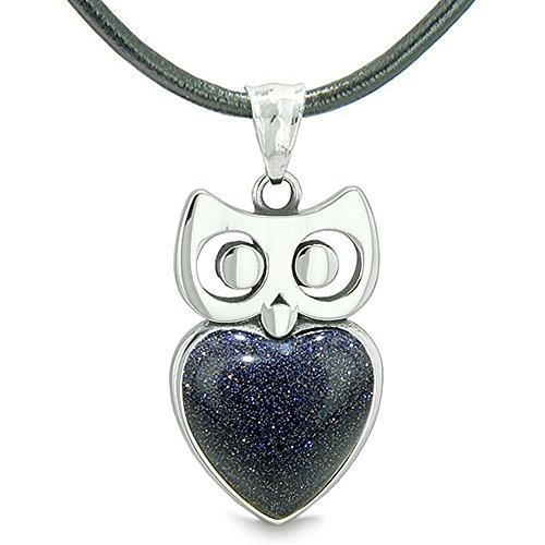 - Amulet Owl Cute Heart Lucky Charm Positive Energy Blue Goldstone Leather Pendant Necklace