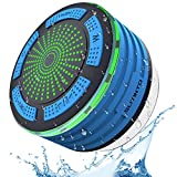 Shower Speaker, Slitinto IPX7 Portable Wireless Waterproof Bluetooth Speakers with Radio, Suction Cup and LED Mood Lights, Super Bass and HD Sound for Shower, Pool, Beach, Hot Tub, Boat&Outdoor