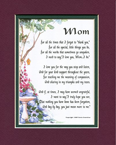 MOM A Touching Sentimental Mother's Day Present Poem 50th 60th 70th 80th Birthday #03, More Color Options]()