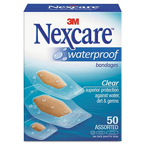 Wholesale CASE of 25 - 3M Nexcare Clear Waterproof Bandages-Bandages, Waterproof, Assorted Sizes, 50/BX, Clear