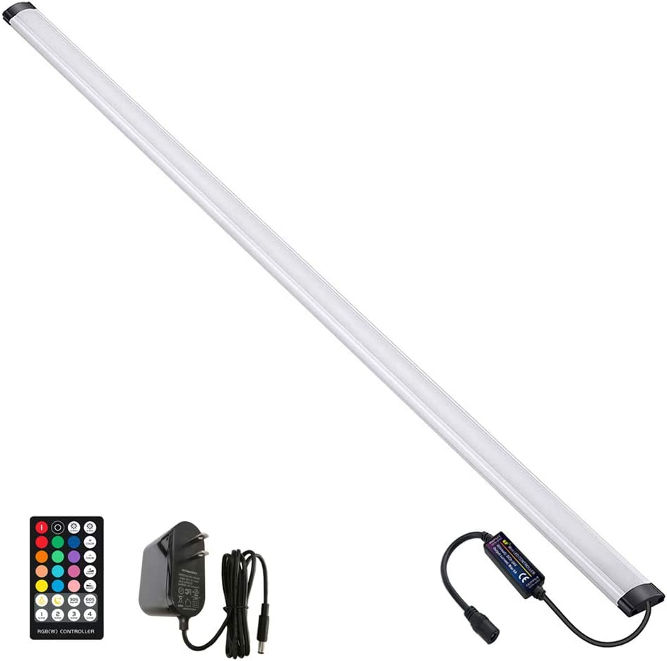 LAIFUNI Dimmable Under Cabinet Lighting, RGB LED Light Bar, RF Remote Control Lamp, Multicolor Under Counter Lights for Desk, Room, Cupboard, Hallway, Shelf, Closet (36 Inch)
