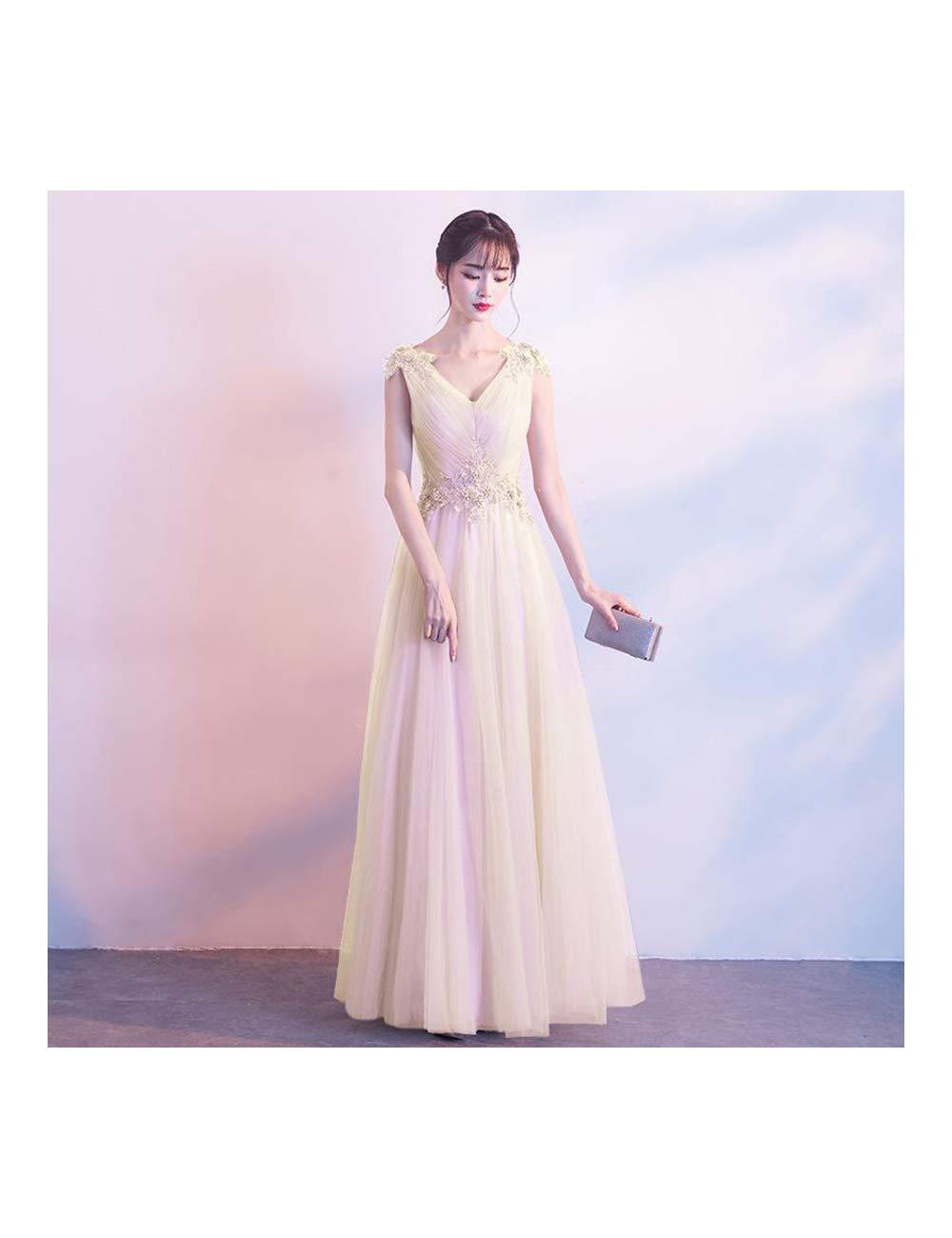 Champagne 1 XS ATLD Cheongsam Robe De Soirée De Mariage élégante Mariée Exquise Dentelle Fleur Strass Cheongsam Col en V sans Manches Qipao