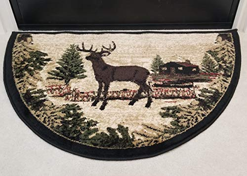 GAD Premium Half Circle Hearth Rug - Flame Resistant Fireplace Slice Rug - Outdoor, Buck, Elk, Deer Design Black, Green and Beige Indoor Half Round Door Mat for Home or The Cabin (Circle Stripe Rug)