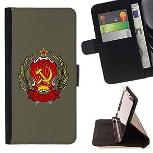 BullDog Case - FOR/HTC Desire 820 / - / soviet russia ussr symbol poster sign art /- Monedero de cuero de la PU Llevar cubierta de la caja con el ID Credit Card Slots Flip funda de cuer