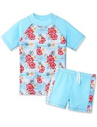 BAOHULU Girls Swimsuit Two Piece Tankini UPF 50+ UV Protective Rash Guard Set 3-12 Years (7-8Y(Tag.No 8A), LightBlue)