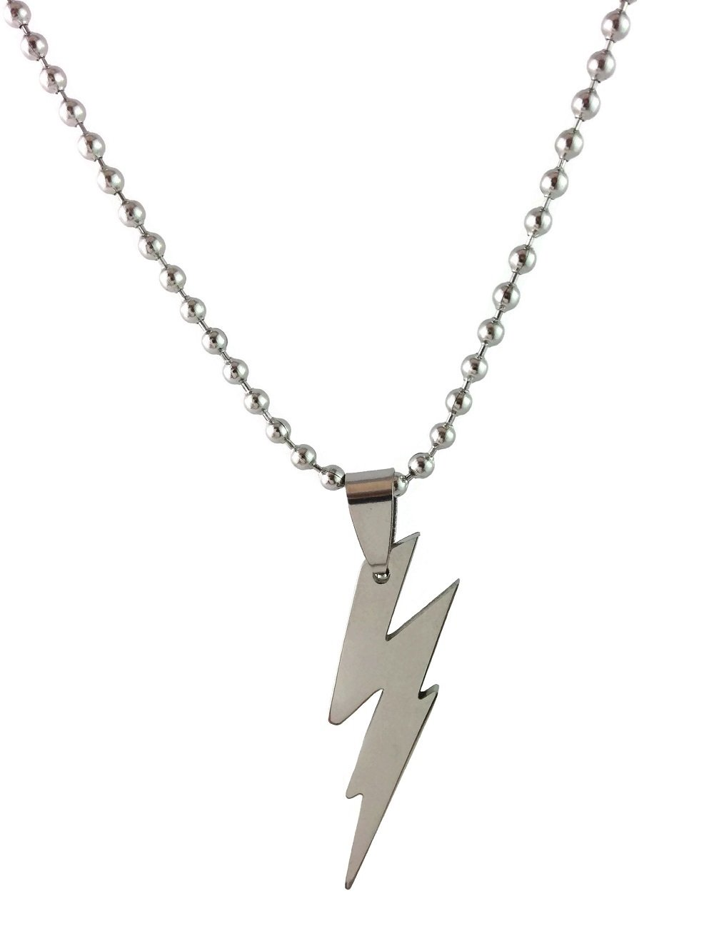 Dastan Stainless Steel Flash Necklace Flash Lightning Bolt Pendant Charm on Beaded Chain- The Flash Necklace for Boys, Girls, Men and Women