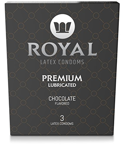 Royal Ultra Thin Chocolate Flavored Condoms - Premium Lubricated, All Natural, Organic, Vegan, High Quality, Non Toxic, Gluten Free Latex, 3 Pack