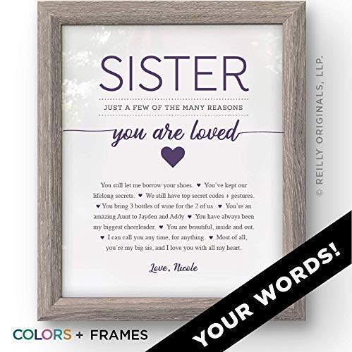 Personalized Sister Gift Your Words Birthday Valentines Day Mothers Reasons Youre Loved The Best 1 Cute Funny Sentimental Humor Card Friend