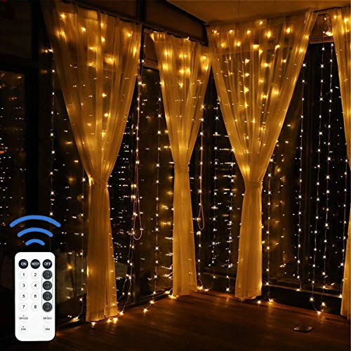 12APM LED Fairy Curtain String Lights for Bedroom, USB Powered with Remote(9.8ft9.8ft)