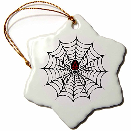 3dRose orn_58923_1 Black Widow Spider in a Web Snowflake Ornament, Porcelain, 3-Inch