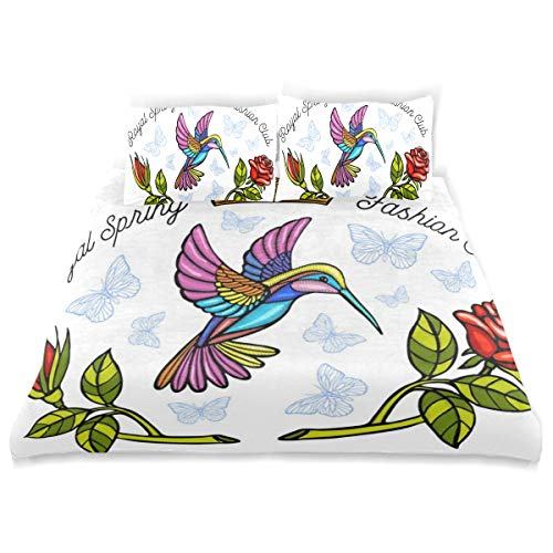 (KVMV Hummingbirds Butterflies Crown Flowers Roses Embroidery Duvet Cover Set Design Bedding Decoration King 3 PC Sets 1 Duvets Covers with 2 Pillowcase Microfiber Bedding Set Bedroom)