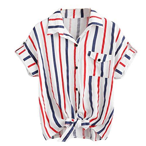 TLTL Womens Stripe Blouse Ladies Blouses Short Sleeve Shirt Women Shirt (XL, White) -