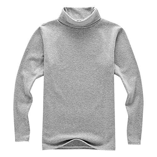 - Evelin LEE Girls Basic Solid Color Turtleneck T-Shirt Tops Long Sleeve Clothes Grey