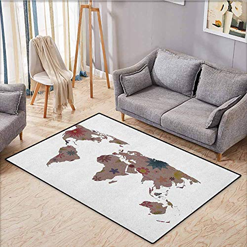 (Collection Area Rug,Floral World Map,Vintage Earth Surface with Blooms Atlas Bohemian Globe Artistic Display,Super Absorbs Mud,5'3