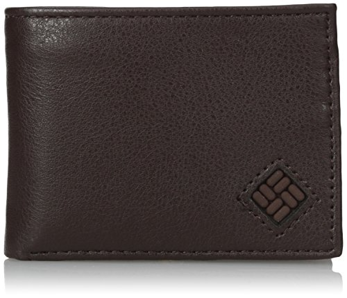 Columbia Men's  Leather Extra Capacity Slimfold Wallet,Brown,