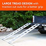"""CargoSmart Aluminum Straight Fixed Ramp with Treads (2pk) – Easily and Safely Load and Unload Light Equipment, Lawn Tractors, ATVs and More, 1,250 lb. Capacity, 12"""" W x 78"""" L"""