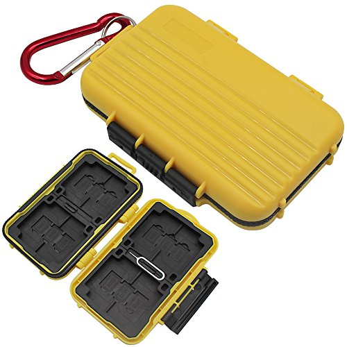 Memory Card Case Water-Proof Dust-Proof Anti-Shock Protection Card Holder for 8 pcs SD Cards 12 micro MSD/SD Cards 4 Compact Flash (Yellow).