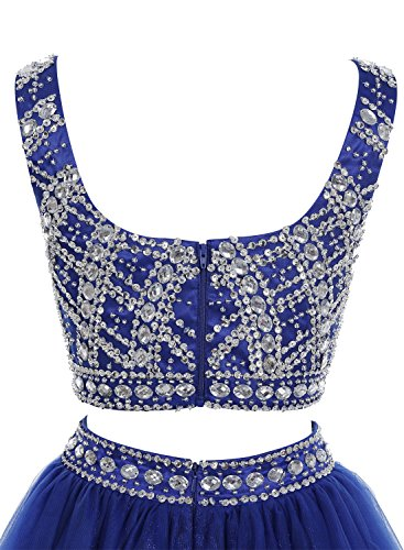 Bbonlinedress Vestido Mujer Largo Dos Piezas Tul Con Tirantes Escote En Pico Con Cuentas Azul