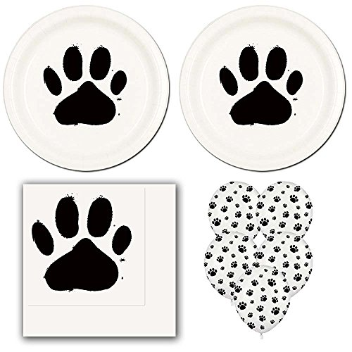 02lp Dog Paw Prints Birthday Party Pack Supplies for 16 guests - dinner plates, napkins, balloons (Black Paw Print Party Supplies)
