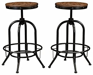 ashley furniture signature design pinnadel bar stool pub height set of 2 rustic brown