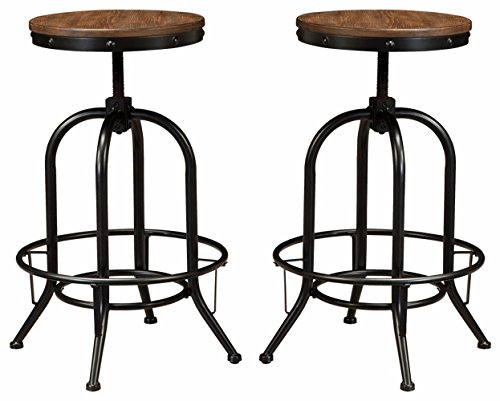 Ashley Furniture Signature Design - Pinnadel Bar Stool - Pub Height - Set of 2 - Rustic Brown (Traditional Table Round Bar)