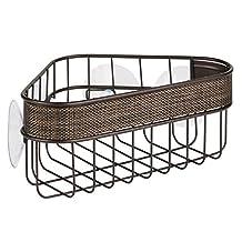 InterDesign Twillo Suction Bathroom Shower Caddy Corner Basket for Shampoo, Conditioner, Soap - Bronze