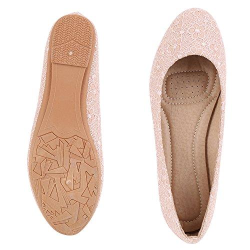 Japado Klassische Damen Ballerinas Flats Spitze Häkeloptik Leder-Optik Slippers Ballerina Schuhe Metallic Schleifen Pailletten Rosa Muster