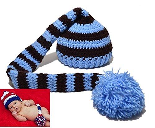 Kafeimali Baby Christmas Elf Long Tail Crochet Beanie Knit Hat Stocking Caps (Adjustable Home Wool Cap)