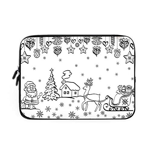 Christmas Decorations Laptop Sleeve Bag,Neoprene Sleeve Case/Tree Ornaments Santa Sleigh Rudolph Reindeer Toys Jingle Bells Image/for Apple MacBook Air Samsung Google Acer HP DELL Lenovo Asus