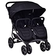 Costzon Double Stroller, Ultra Light Aluminum Twin Stroller, Multi-Position Reclining Seats & Footrests, Convenient Swivel Child Bars, Ample Storage Space Smooth Travel Stroller With Built In Air Vent