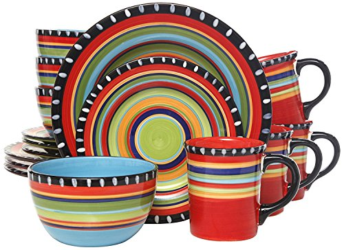 Gibson Home Pueblo Springs Handpainted 16-Piece Dinnerware S