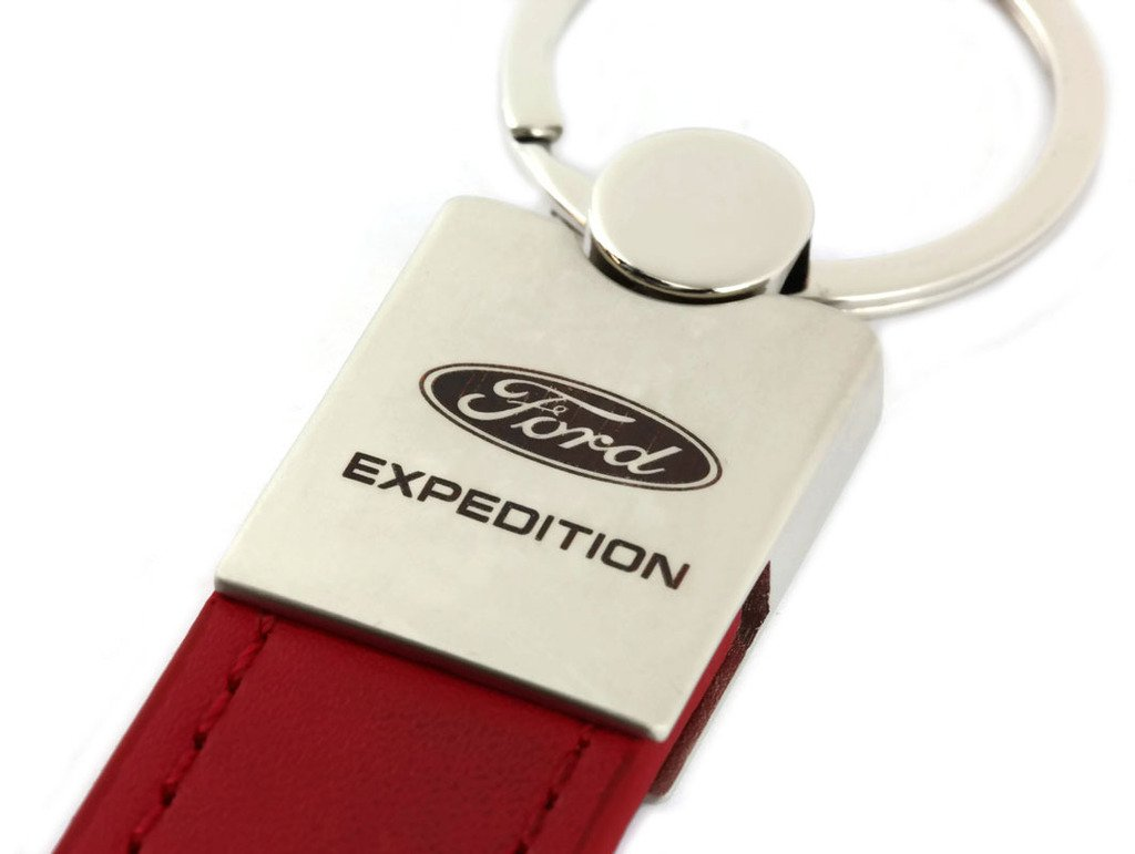 Ford Expedition Red Leather Car Fob Key Chain Ring INC Au-Tomotive Gold