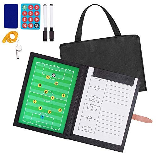 AGPTEK Soccer Coach Board Set with a Whistle & Carrying Bag, Football Folding Magnetic Tactic Marker Board, Marker Pen and Eraser for Strategy Guiding