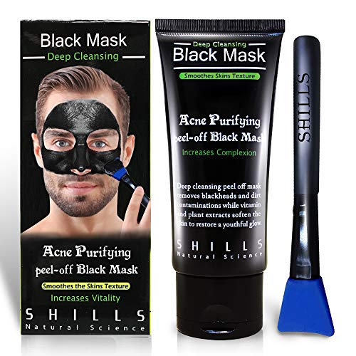SHILLS Blackhead Remover, Pore Control, Skin Cleansing, Purifying Bamboo Charcoal, Peel Off Facial Black Mask,1 Bottle(1.69 fl. oz)