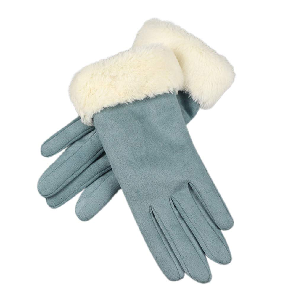 NUWFOR Womens Fashion Winter Solid Full Finger Hand Outdoor Sport Warm Gloves?Blue,Free?