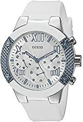 GUESS Women's U0772L3 Sporty Multi-Function Watch on Comfortable White Silicone Strap