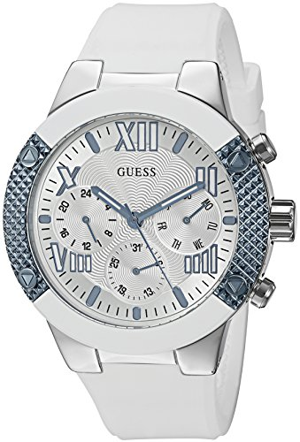Multifunction Dial Watch (GUESS Women's U0772L3 Sporty Silver-Tone Stainless Steel Watch with Multi-Function Dial and White Strap Buckle)