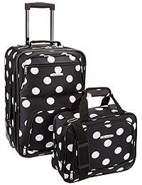 Rockland F102 Luggage Printed Luggage Set, Black Dot, Medium, 2-Piece