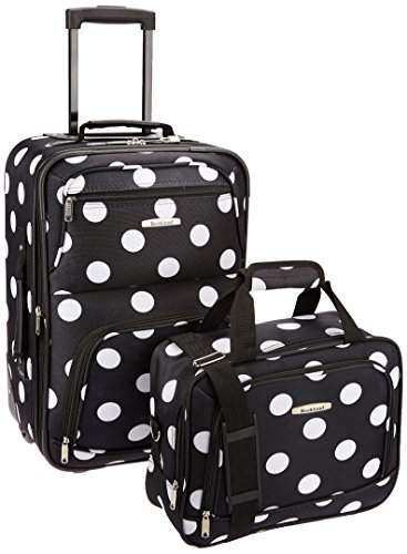 Rockland Luggage 2 Piece Printed Luggage Set, Black Dot, Medium (Dots Shoes Kids Polka)