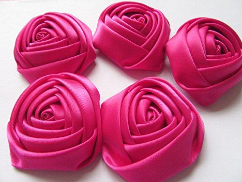 Hot Rose Bouquet Pink (YYCRAFT Pack of 20 Satin 4d Rose Flower 2 1/2