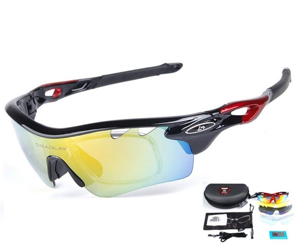 Baselay Polarized Sports Sunglasses with 5 Interchangeable Lenes UV400 Sun Glasses for Men Women Youth Cycling Running Driving Fishing Golf Baseball TAC Goggles (Black/Red)
