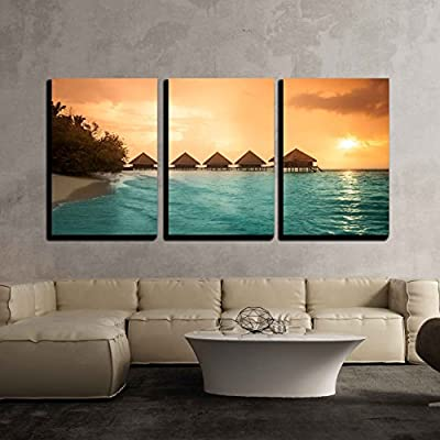 3 Piece Canvas Wall Art - Over Water Bungalows with Steps into Amazing Green Lagoon - Modern Home Art Stretched and Framed Ready to Hang - 16