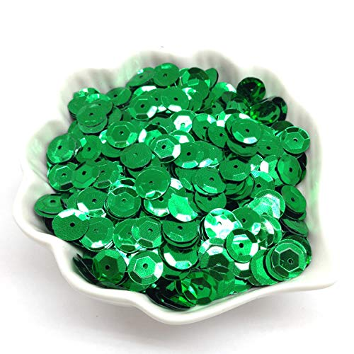 PEPPERLONELY 50 Gram Paillette Sequins Semi-Cupped Sequins Beads, Green, 10x0.5mm