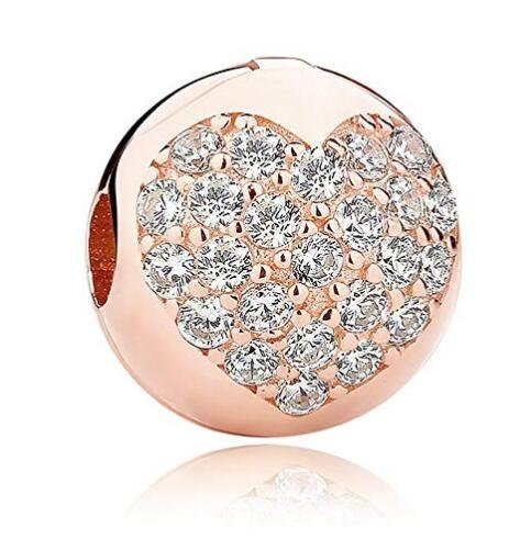 Pink Cherry Blossom CZ Clip 925 Sterling Silver Bead Love Heart Charm Clip Charm Lock Stopper Charm Spacer Charm for Pandora Charms Bracelet (Rose Gold Love Charms)
