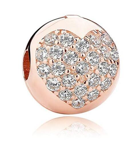Abalorio de plata de ley 925 con diseño de cerezo rosa y flor de cerezo para pulsera Pandora, con cierre de clip, Rose Gold...
